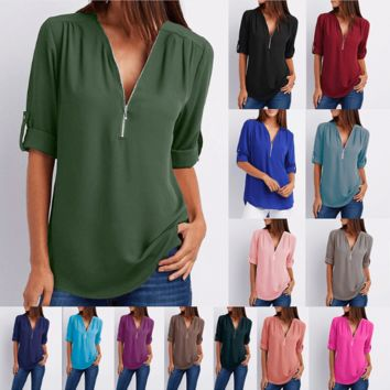 Women Chiffon V-Neck Blouse