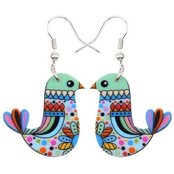 Acrylic Bohemian Drop Dangle Bird Long Earrings For Women New Fashion Jewelry Cartoon Bijoux Bricons Accessories