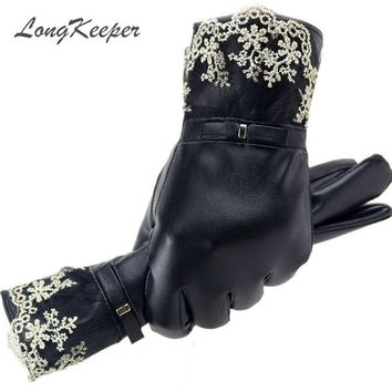 LongKeeper 2017 New Leather Womens Touch Screen Gloves Winter Fashion Ladies Girls Lace Warm Gloves Mittens Female Guantes