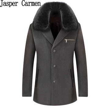 Free shipping 2017 new Men Longer Section Woolen Coats Jackets with Fur collar Mens Warm Wool Overcoat Size M-3XL 248yw