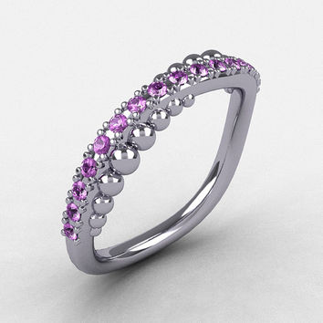 18K White Gold Lilac Amethyst Pearl and Vine Wedding Band, Engagement Ring NN115-18KWGLA