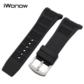 30mm x 16mm Silicone Rubber Watchband Notch End Strap for IWC INGENIEU FAMILY Watch Band Stainless Steel Buckle Wrist Bracelet