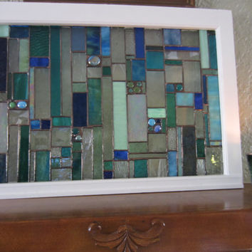 Stained Glass Art Hanging...  Fireplace Mantle Art...   Window table