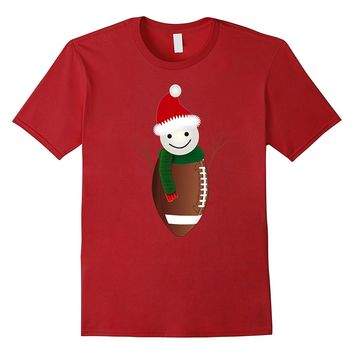 Funny Christmas Sports American Football Snowman Gifts Shirt