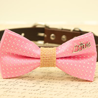 Pink Dog Bow Tie attached to brown collar, Bow with charm, Burlap, Love, Christmas gift