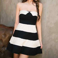 Strapless Black and White Stripe Skater Dress