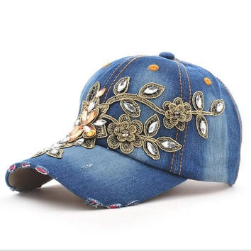 2017 Fashion  Full Crystal Floral  Sport Outdoor Denim Baseball Cap Bling Rhinestone hip hop Adjustable Snapback Hat for women