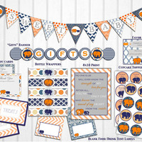 Orange & Navy Blue Elephant Baby Boy Shower Instant Download Printable Package Decorations: Banner, cupcake toppers, tags, signs, DIY