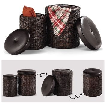 2 pcs Rattan Leather Seating Storage Stools Ottoman This delicate and versatile set of ottoman storage stool is made of rattan, combined with pure natural material and excellent craftsmanship.