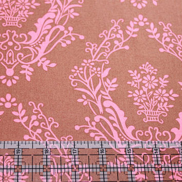 Brown and Pink Damask Flower Power by Jennifer Paganelli for Free Spirit Cotton Fabric 3/4 Yard