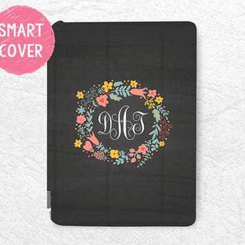 Chalkboard Personalized Smart Cover, Floral wreath Monogram custom case for iPad Mini, iPad mini 2 retina, iPad mini 3, iPad Air, iPad Air 2