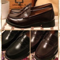 Women/Men Unisex Japan/Japanese School Student Uniform Shoes Uwabaki JK Round Toe Oxforda Cosplay Flat Shoes Black / Brown