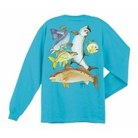 Guy Harvey Men's Inshore Collage Short Sleeve T-shirt