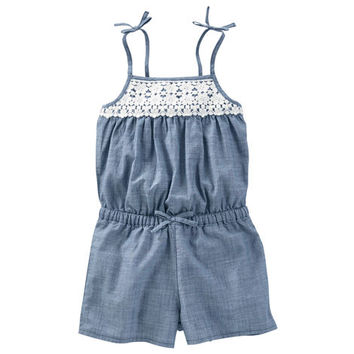 Crocheted Chambray Romper
