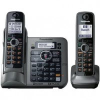 Panasonic KX-TG7642M DECT 6.0 Link-to-Cell via Bluetooth Cordless Phone with Answering System - 2 Handsets - Metallic Gray