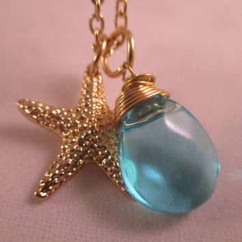 Starfish Necklace Beach Necklace Ocean Inspired Jewelry Turquoise Jewelry