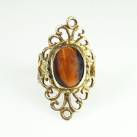 Vintage Ring Mexican Sterling Tigers Eye 925 Jewelry