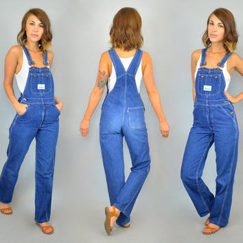 vintage 1980s fitted LEVI'S STRAUSS & CO dark wash denim overalls, extra small