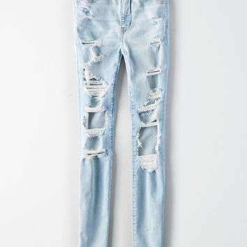 AE Ne(x)t Level Super Hi-Rise Jegging , Broken Glass Blue