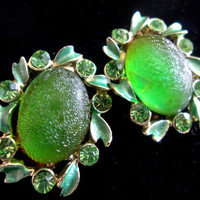 Green Frosted Glass Rhinestone Earrings, signed STAR, Enamel, Screw/Clip-on, Vintage