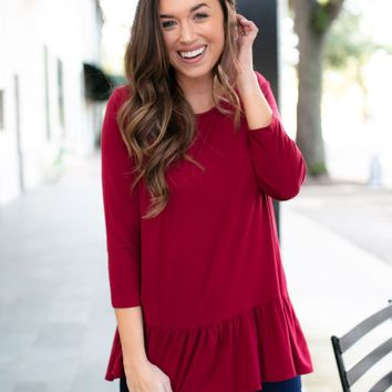 By Your Side Ruffle Hem Top in Burgundy