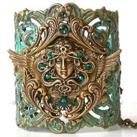 Wide Cuff Bracelet - Flying Medusa on Verdigris Patina Victorian Lace Bracelet - by LeBoudoirNoir