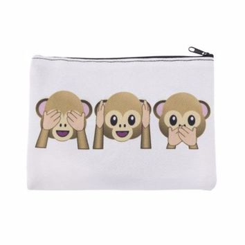 Adorable Monkeys See No Hear No Speak no Evil Photo Printed Zippered Cosmetic Pouch Bag