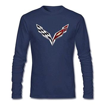 OMMIIY Men's General Motors Corvette Logo Long Sleeve T-Shirt Royal Blue XL