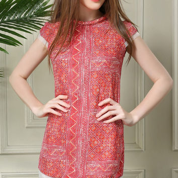 Red High Neckline Sheer Mesh Trimmed Tribal Print Mini Shift Dress