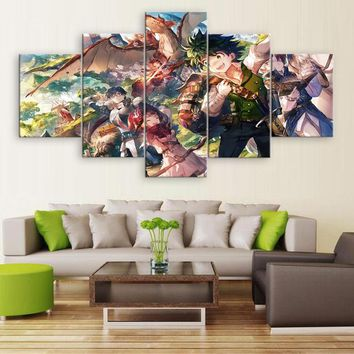 5 Pieces Canvas Wall Art Poster My Hero Academia Modern Printed Painting Pictures Home Decor For Living Room Animation Artwork