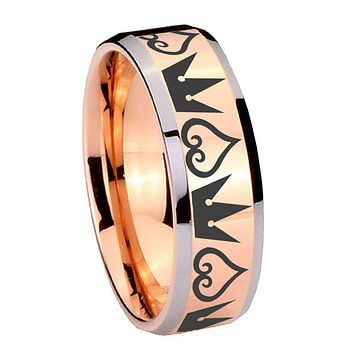 8MM Rose Gold Hearts and Crowns Bevel Edges 2 Tone Tungsten laser Engraved Ring
