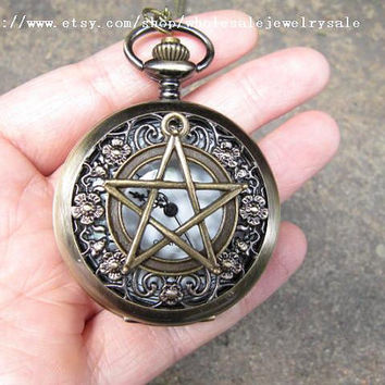 SALE -supernatural Pentacle Pocket Watch Necklace Jewelry Pendant men's gift