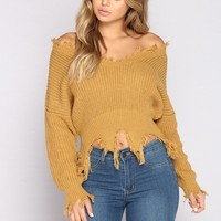 Jaime Distressed Sweater - Mustard