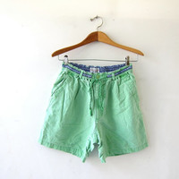 20% OFF SALE vintage washed out shorts. neon green shorts. elastic waist shorts. sporty beach shorts.