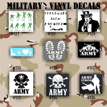 MILITARY vinyl decals - 127-135 - Army, Air Force, Navy and Marines - car decal - window sticker - vinyl decal - vinyl sticker