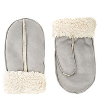 Gray Faux Shearling Mittens Gloves