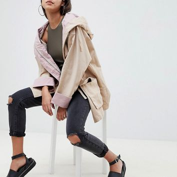 ASOS DESIGN waterfall parka with contrast liner at asos.com