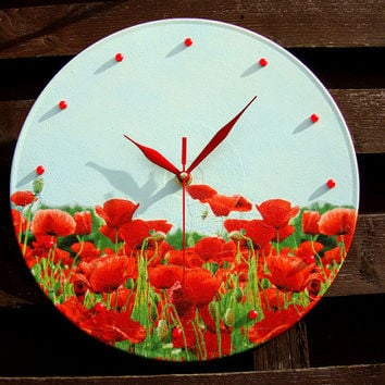 Wall Clock Poppy Field, unique gift, clocks with flowers, unique wall clocks, decorative wall clocks, kids wall clocks, unusual wall clocks