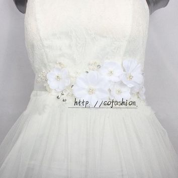 ONETOW White Flower Bridal Lace Belts Handmade Pearl Elegant Dress Sash  wedding Belt Crystal Satin Ribbon