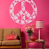 Vinyl Wall Decal Sticker Flower Peace Sign #1204