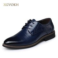 Men's Business formal leather shoes genuine leather lace up oxfords Wedding shoes pointed toe