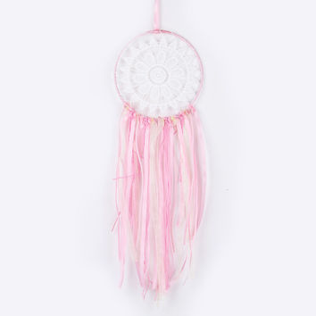 New Fashion Gift India Pink Lace Dreamcatcher Wind Chimes Indian Style Feather Pendant Dream Catcher Regalo AD150704006