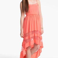 Lush Lace Trim High/Low Dress (Juniors) | Nordstrom