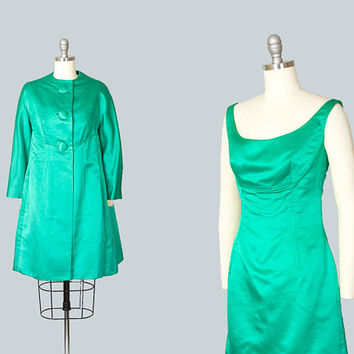 Vintage 1960s Dress Set | 60s Kelly Green Silk Satin Cocktail Wiggle Dress Evening Jacket Matching Outfit (xs)