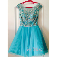 Cute round-collar blue tulle handmade short pleated prom dress / bridesmaid dress