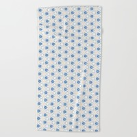 Acrylic Blue Floral Triangles Beach Towel by Doucette Designs