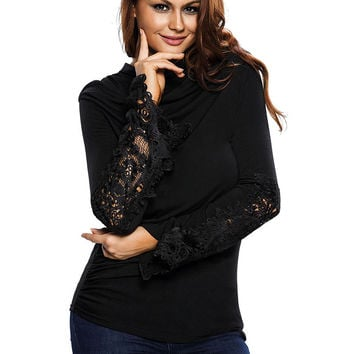 Black Cowl Neck Ruched Detail Crochet Insert Belle Sleeve Top