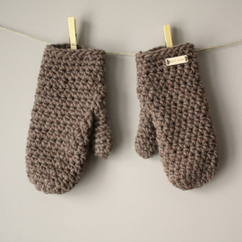 Warm Woolen Crochet Mittens - Medium Taupe Brown Sable (Made To Order)