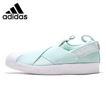 Adidas Superstar Slip on Clover Women's Walking Shoes , Light Blue, Wrapped  Non-Slip  Balanced Lightweight S76407