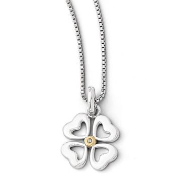 4 Heart Diamond Clover Necklace in Rhodium & Gold tone Plated Silver